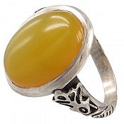 انگشتر نقره عقیق زرد خوش نقش مردانه