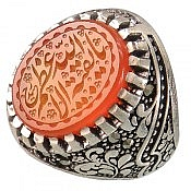 انگشتر نقره عقیق یمن حکاکی یا بقیة الله الاعظم مردانه