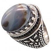 انگشتر نقره عقیق شجر طبیعی فاخر مردانه