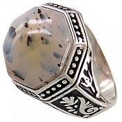 انگشتر نقره عقیق شجر طبیعی خوش نقش مردانه