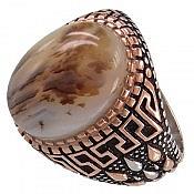 انگشتر نقره عقیق شجر طبیعی درشت مردانه