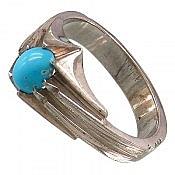 انگشتر نقره فیروزه نیشابوری ظریف مردانه