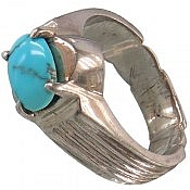انگشتر نقره فیروزه نیشابوری طرح صفوی مردانه