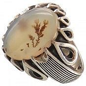 انگشتر نقره عقیق شجر دور اشکی مردانه