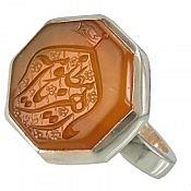 انگشتر نقره عقیق شرف الشمس حکاکی یا زهرا یامظلومه مردانه