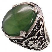 انگشتر نقره یشم هندی درشت و شاهانه مردانه