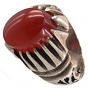 انگشتر نقره عقیق یمن قرمز شاهانه مردانه