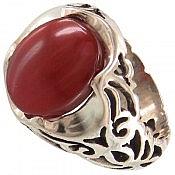 انگشتر نقره عقیق یمن قرمز طرح سلطنتی مردانه