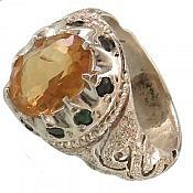 انگشتر نقره سیترین زمرد سلطنتی مردانه