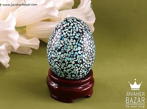 تندیس تخم مرغی با براده های فیروزه نیشابور