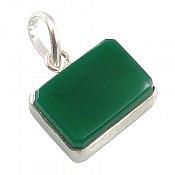 مدال نقره عقیق چهار گوش سبز