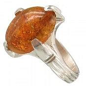 انگشتر نقره کهربا چهار چنگ مرغوب مردانه