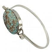 دستبند نقره فیروزه نیشابوری درشت و زیبا مردانه
