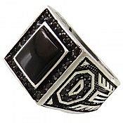 انگشتر نقره عقیق سیاه طرح شاهانه مردانه
