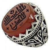 انگشتر نقره عقیق یمن حکاکی یا اباعبدالله الحسین خط کوفی مردانه