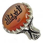 انگشتر نقره عقیق یمن حکاکی العزه لله خط کوفی مردانه
