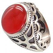 انگشتر نقره عقیق یمن قرمز و سلطنتی مردانه