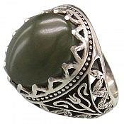 انگشتر نقره یشم یمن خوش نقش و شاهانه مردانه