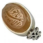 انگشتر نقره عقیق یمن طرح صفوی حکاکی یا جوادالائمه مردانه