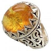 انگشتر نقره کهربا بولونی لهستان سلطنتی مردانه