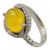 انگشتر نقره عقیق زرد شرف الشمس طرح صفوی زنانه