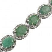 دستبند نقره زمرد هندی اشرافی زنانه