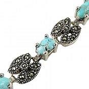 دستبند نقره فیروزه نیشابوری اشرافی زنانه