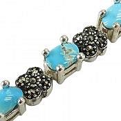 دستبند نقره فیروزه نیشابوری طرح ملکه زنانه