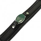 دستبند نقره چرم و عقیق حکاکی حسن غریب مدینه مردانه