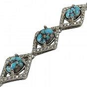دستبند نقره فیروزه نیشابوری فاخر زنانه