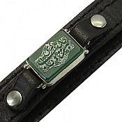 دستبند عقیق و چرم حکاکی یا زینب کبری مردانه