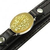 دستبند عقیق و چرم شرف الشمس حکاکی یا حسین غریب مردانه