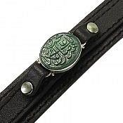 دستبند عقیق و چرم حکاکی صلوات مردانه