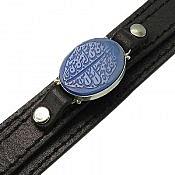دستبند عقیق و چرم حکاکی و من یتق الله مردانه