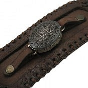 دستبند حدید و چرم حکاکی و ان یکاد مردانه