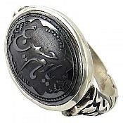 انگشتر نقره حدید طرح صفوی حکاکی یا امام حسین ع مردانه