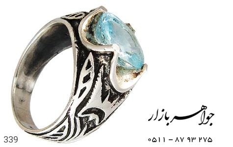 انگشتر نقره توپاز آبی طرح سیاه قلم مردانه - 339