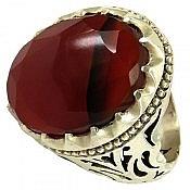 انگشتر نقره عقیق یمن الماس تراش لوکس مردانه دست ساز