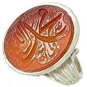 انگشتر نقره عقیق حکاکی محمد رسول الله علی ولی الله مردانه