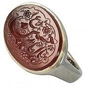 انگشتر نقره عقیق طرح صفوی حکاکی یا امام حسین ع مردانه