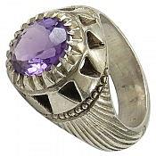 انگشتر نقره آمتیست خوش رنگ و شاهانه مردانه