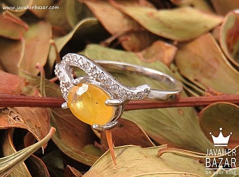 انگشتر نقره یاقوت آفریقایی زرد زیبا زنانه
