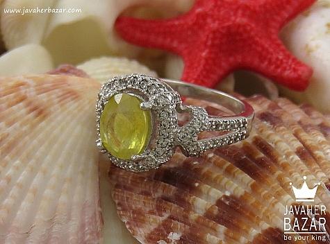 انگشتر نقره یاقوت زرد طرح سیمین زنانه