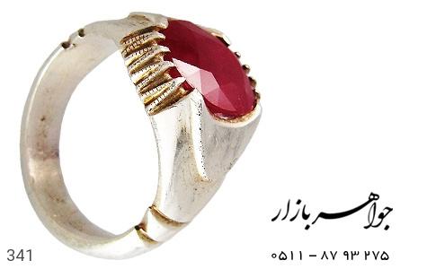 انگشتر نقره یاقوت سرخ درشت مردانه - 341