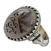 انگشتر نقره عقیق شجر حکاکی یا حسین مظلوم مردانه