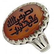 انگشتر نقره عقیق یمن حکاکی نصر من الله و فتح قریب مردانه