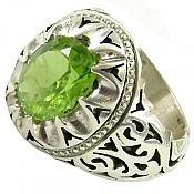 انگشتر نقره زبرجد خوش رنگ و اشرافی مردانه