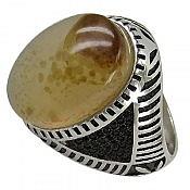 انگشتر نقره عقیق درشت و شاهانه مردانه