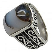 انگشتر نقره عقیق شجر فاخر مردانه