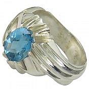 انگشتر نقره توپاز سوئیس ارزشمند مردانه
